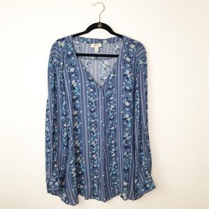 Style & co bohemian floral printed blouse
